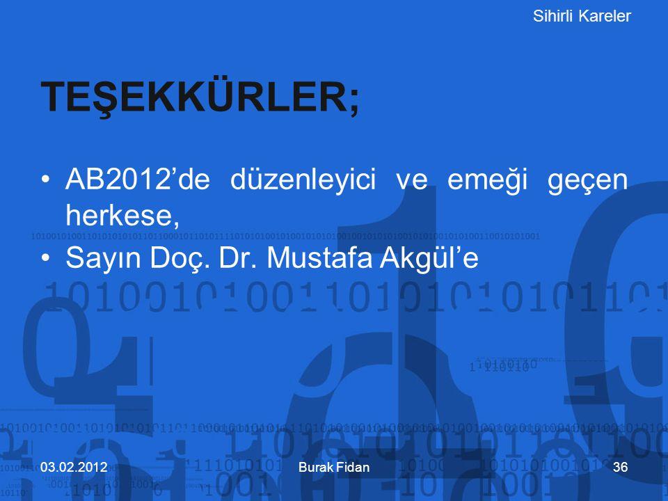 Sihirli Kareler Burak Fidan3603.02.2012 AB2012'de düzenleyici ve emeği geçen herkese, Sayın Doç. Dr. Mustafa Akgül'e TEŞEKKÜRLER;