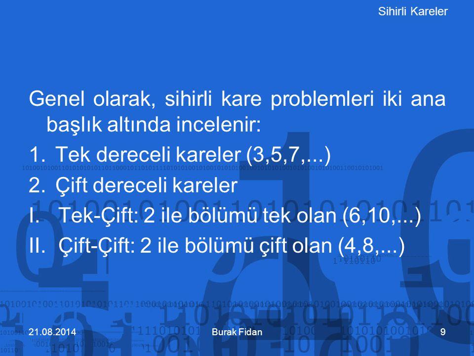 Sihirli Kareler Genel olarak, sihirli kare problemleri iki ana başlık altında incelenir: 1.Tek dereceli kareler (3,5,7,...) 2.Çift dereceli kareler I.