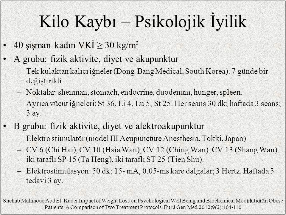 Kilo Kaybı – Psikolojik İyilik 40 şişman kadın VKİ ≥ 30 kg/m 2 A grubu: fizik aktivite, diyet ve akupunktur –Tek kulaktan kalıcı iğneler (Dong-Bang Me