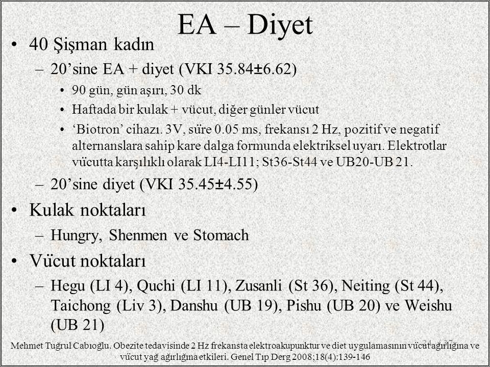 / 3724 Mehmet Tug ̆ rul Cabıog ̆ lu. Obezite tedavisinde 2 Hz frekansta elektroakupunktur ve diet uygulamasının vu ̈ cut ag ̆ ırlıg ̆ ına ve vu ̈ cut