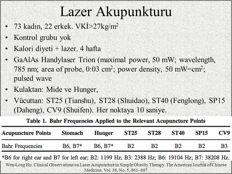 73 kadın, 22 erkek. VKİ>27kg/m 2 Kontrol grubu yok Kalori diyeti + lazer. 4 hafta GaAlAs Handylaser Trion (maximal power, 50 mW; wavelength, 785 nm; a