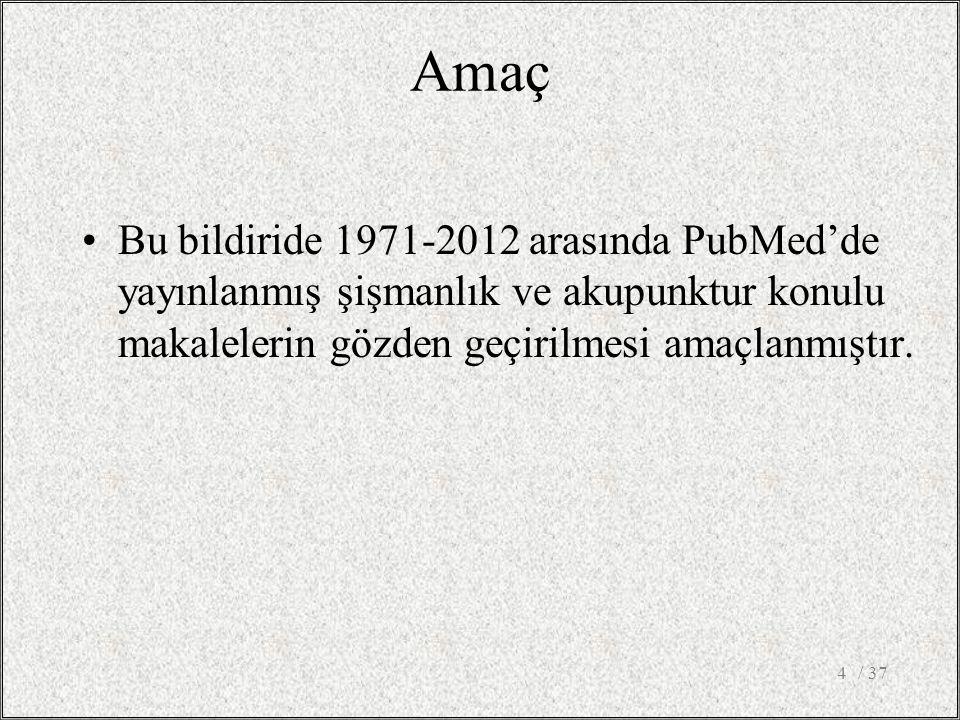 Amaç Bu bildiride 1971-2012 arasında PubMed'de yayınlanmış şişmanlık ve akupunktur konulu makalelerin gözden geçirilmesi amaçlanmıştır. / 374
