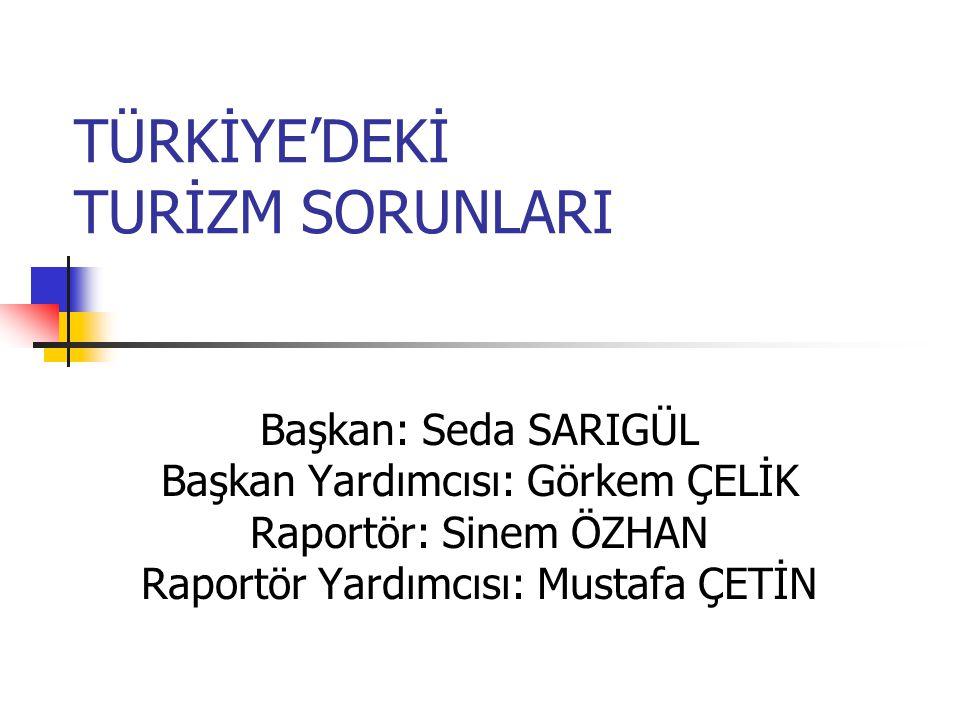 TÜRKİYE'DEKİ TURİZM SORUNLARI Başkan: Seda SARIGÜL Başkan Yardımcısı: Görkem ÇELİK Raportör: Sinem ÖZHAN Raportör Yardımcısı: Mustafa ÇETİN