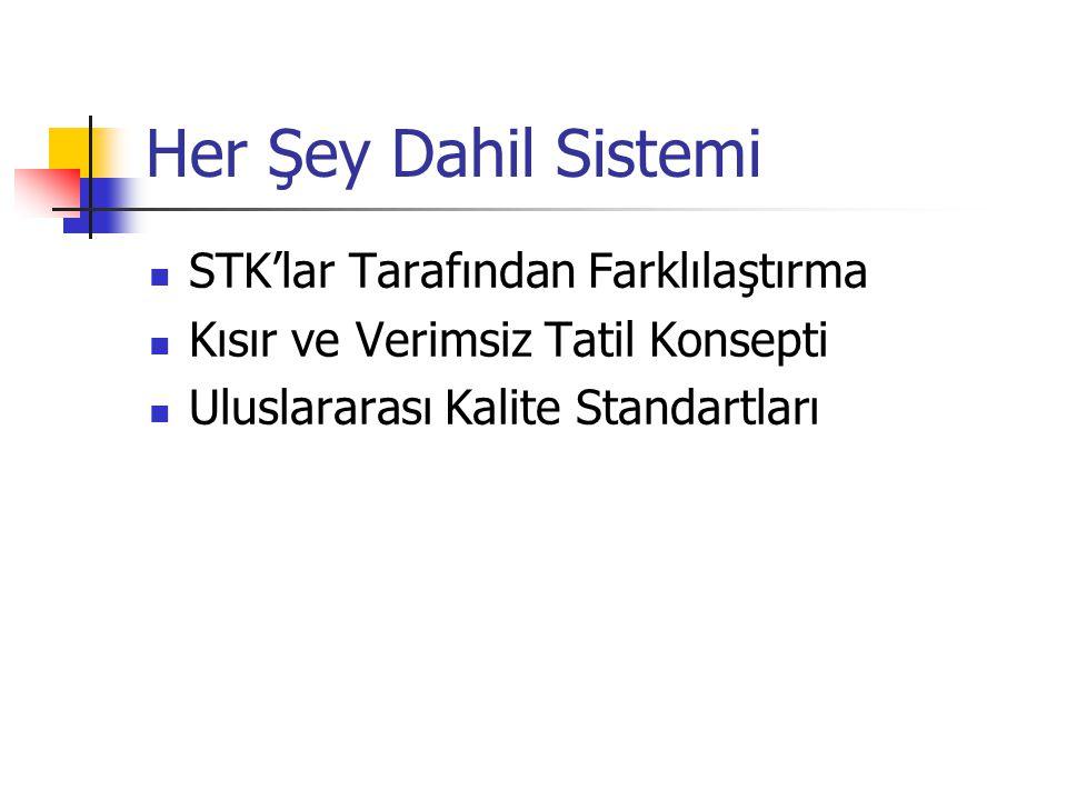 Her Şey Dahil Sistemi STK'lar Tarafından Farklılaştırma Kısır ve Verimsiz Tatil Konsepti Uluslararası Kalite Standartları