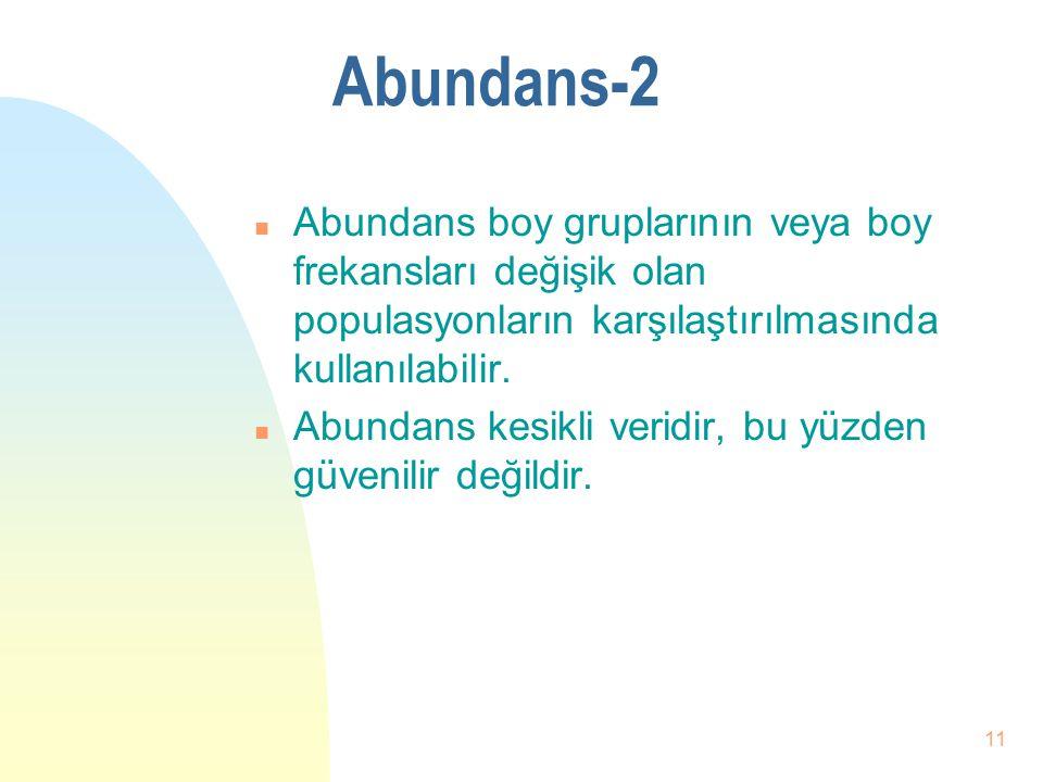 10 Abundans-1 n Bir türün,belirli bir alandaki yada hacimdeki birey adedi yada biomansını ifade eder. n Yoğunluğun ölçülmesinde kullanılır. n Sayımla