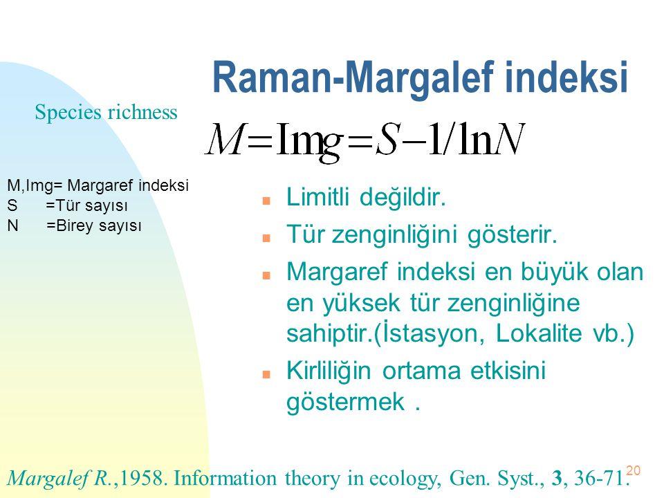 19 Prezans n Çok türlü çalışmalarda kullanılabilir. n Varlık katsayısıdır. n Ortalama frekanstır. Pa=A türünün varlık katsayısı (Prezans) Fa=A türünün