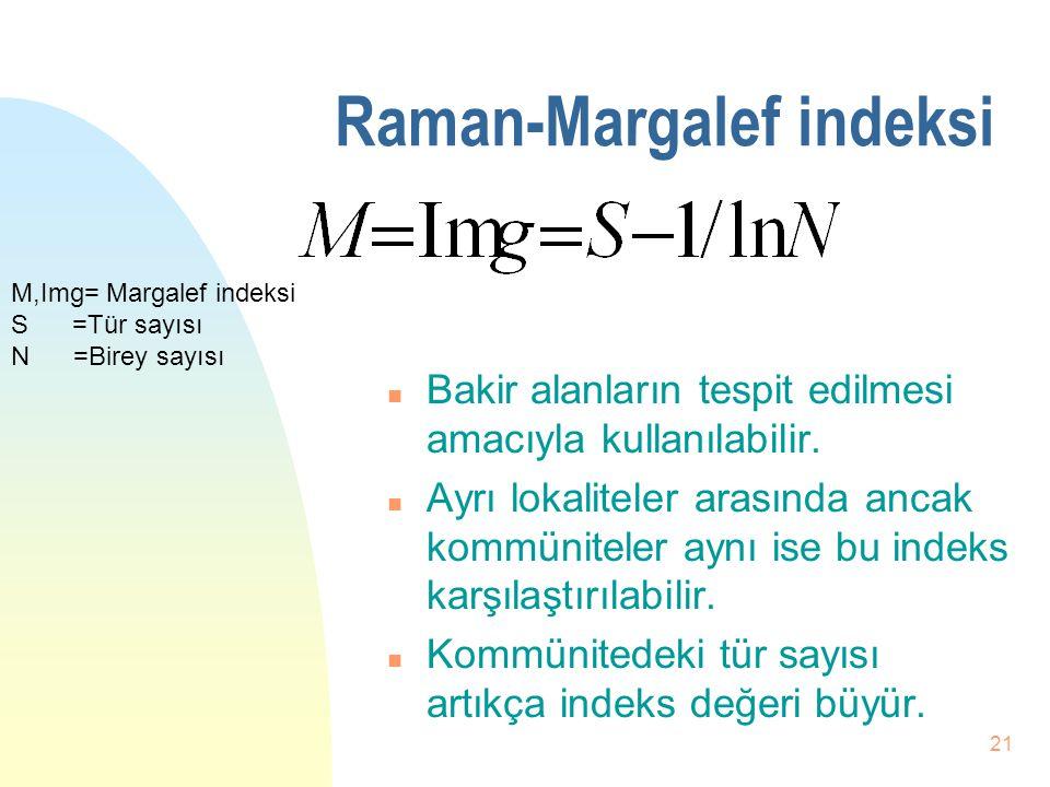20 Raman-Margalef indeksi n Limitli değildir. n Tür zenginliğini gösterir. n Margaref indeksi en büyük olan en yüksek tür zenginliğine sahiptir.(İstas