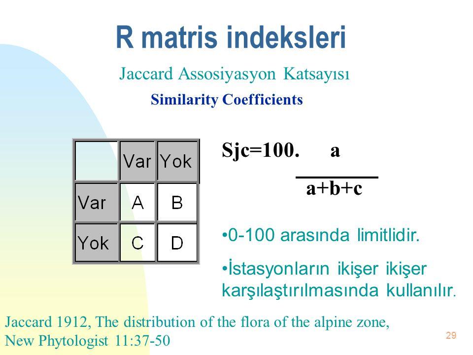 28 Pielou indeksi n 0-1 arasında limitlidir. n Dominansinin türlere göre dağılımını gösteren bir indekstir. n Her tür eşit sayıda birey ile temsil edi
