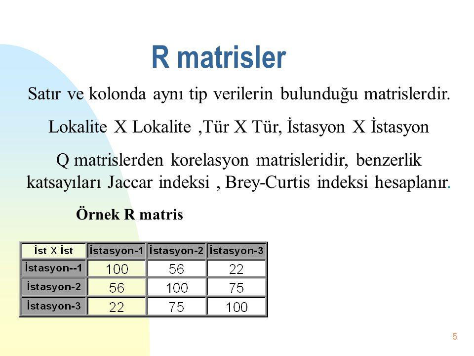 4 Q matrisler Tür listesine karşı lokalite, derinlik, istasyon matrisleridir. (Tür X İstasyon) Q matrislerden Abundans, Dominans, Frekans,Tür Zenginli