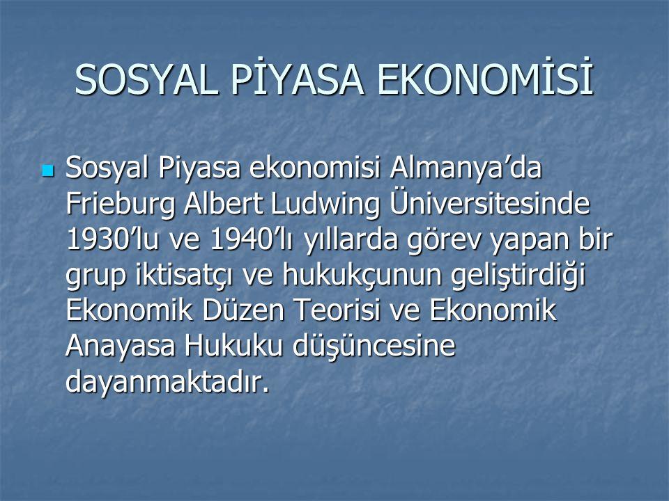 SOSYAL PİYASA EKONOMİSİ Sosyal Piyasa ekonomisi Almanya'da Frieburg Albert Ludwing Üniversitesinde 1930'lu ve 1940'lı yıllarda görev yapan bir grup ik