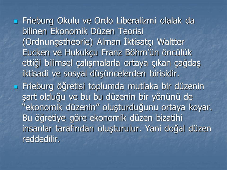Frieburg Okulu ve Ordo Liberalizmi olalak da bilinen Ekonomik Düzen Teorisi (Ordnungstheorie) Alman İktisatçı Waltter Eucken ve Hukukçu Franz Böhm'ün