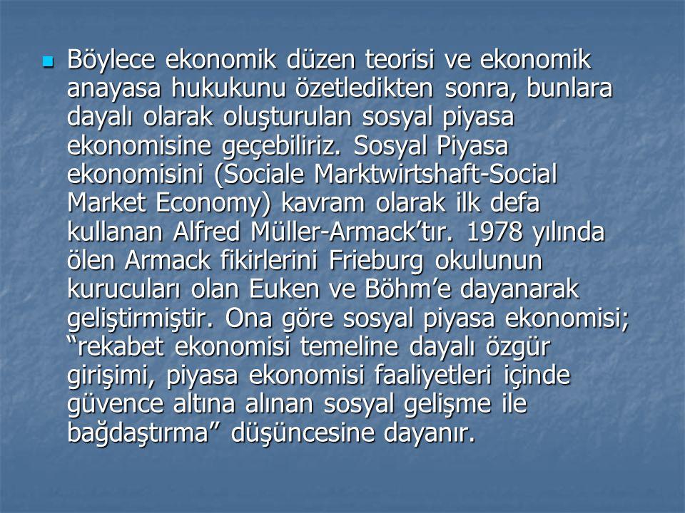 Böylece ekonomik düzen teorisi ve ekonomik anayasa hukukunu özetledikten sonra, bunlara dayalı olarak oluşturulan sosyal piyasa ekonomisine geçebiliri