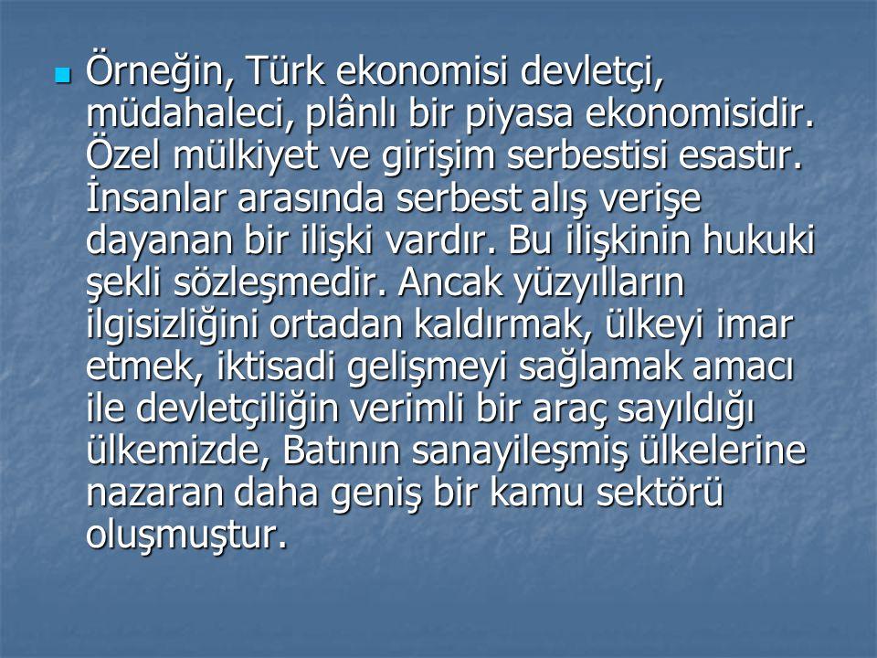 Örneğin, Türk ekonomisi devletçi, müdahaleci, plânlı bir piyasa ekonomisidir. Özel mülkiyet ve girişim serbestisi esastır. İnsanlar arasında serbest a