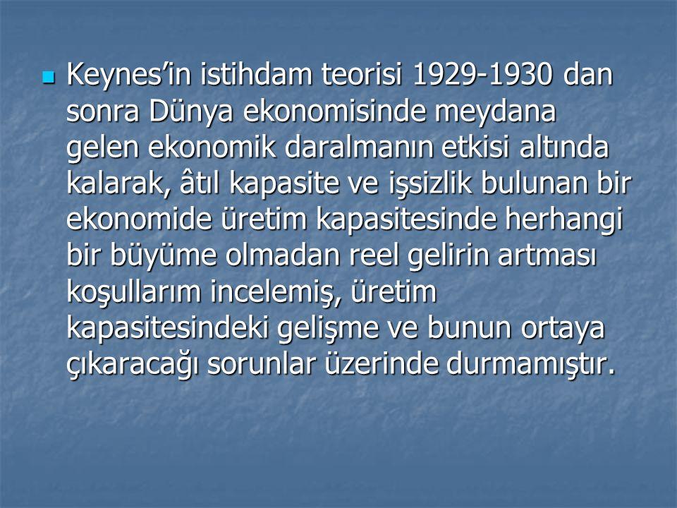 Keynes'in istihdam teorisi 1929-1930 dan sonra Dünya ekonomisinde meydana gelen ekonomik daralmanın etkisi altında kalarak, âtıl kapasite ve işsizlik