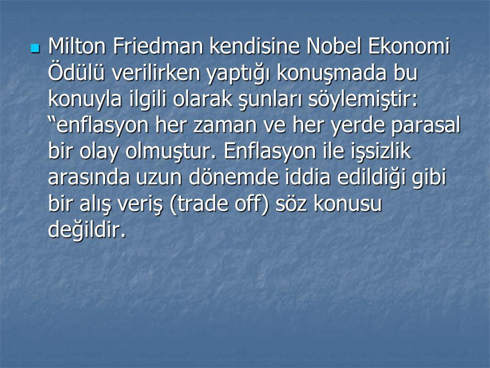 """Milton Friedman kendisine Nobel Ekonomi Ödülü verilirken yaptığı konuşmada bu konuyla ilgili olarak şunları söylemiştir: """"enflasyon her zaman ve her y"""