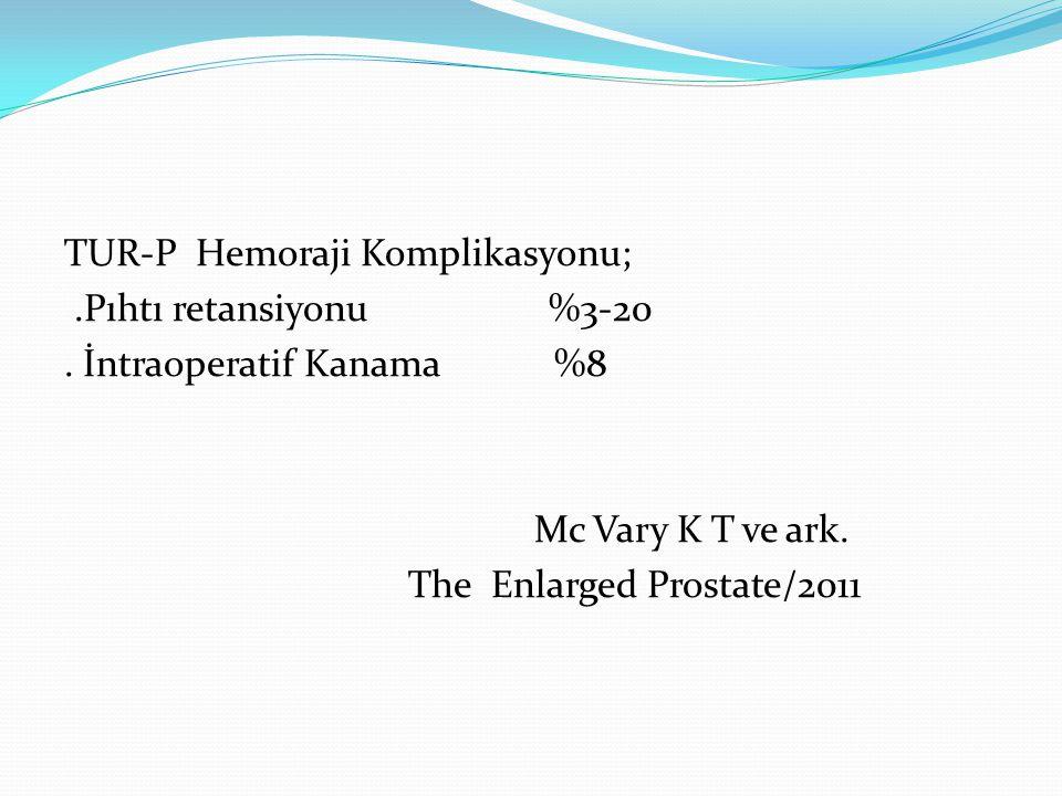 TUR-P Hemoraji Komplikasyonu;.Pıhtı retansiyonu %3-20. İntraoperatif Kanama %8 Mc Vary K T ve ark. The Enlarged Prostate/2011