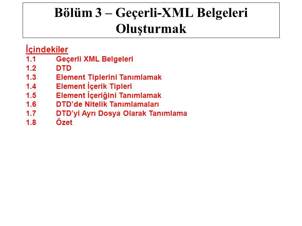 Bölüm 3 – Geçerli-XML Belgeleri Oluşturmak İçindekiler 1.1Geçerli XML Belgeleri 1.2DTD 1.3Element Tiplerini Tanımlamak 1.4Element İçerik Tipleri 1.5 E