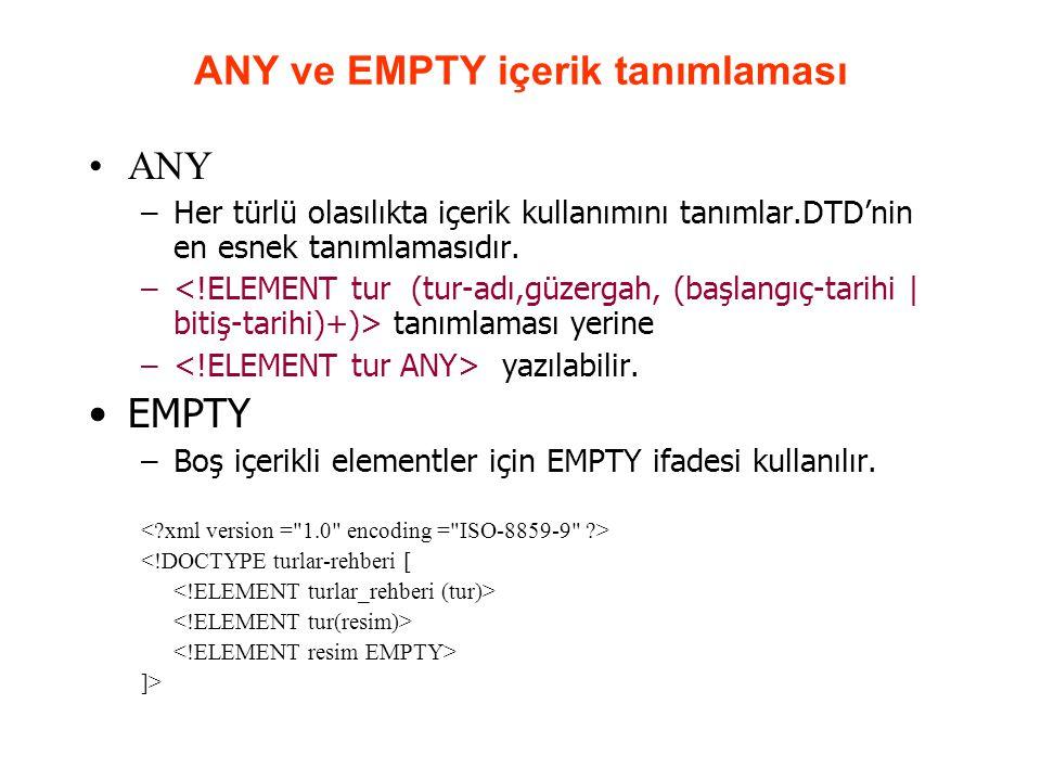 ANY ve EMPTY içerik tanımlaması ANY –Her türlü olasılıkta içerik kullanımını tanımlar.DTD'nin en esnek tanımlamasıdır. – tanımlaması yerine – yazılabi