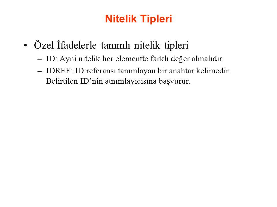 Nitelik Tipleri Özel İfadelerle tanımlı nitelik tipleri –ID: Ayni nitelik her elementte farklı değer almalıdır. –IDREF: ID referansı tanımlayan bir an
