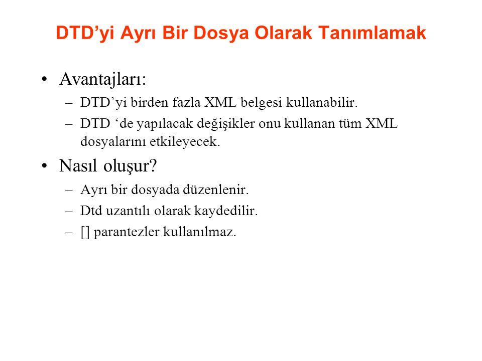 DTD'yi Ayrı Bir Dosya Olarak Tanımlamak Avantajları: –DTD'yi birden fazla XML belgesi kullanabilir. –DTD 'de yapılacak değişikler onu kullanan tüm XML