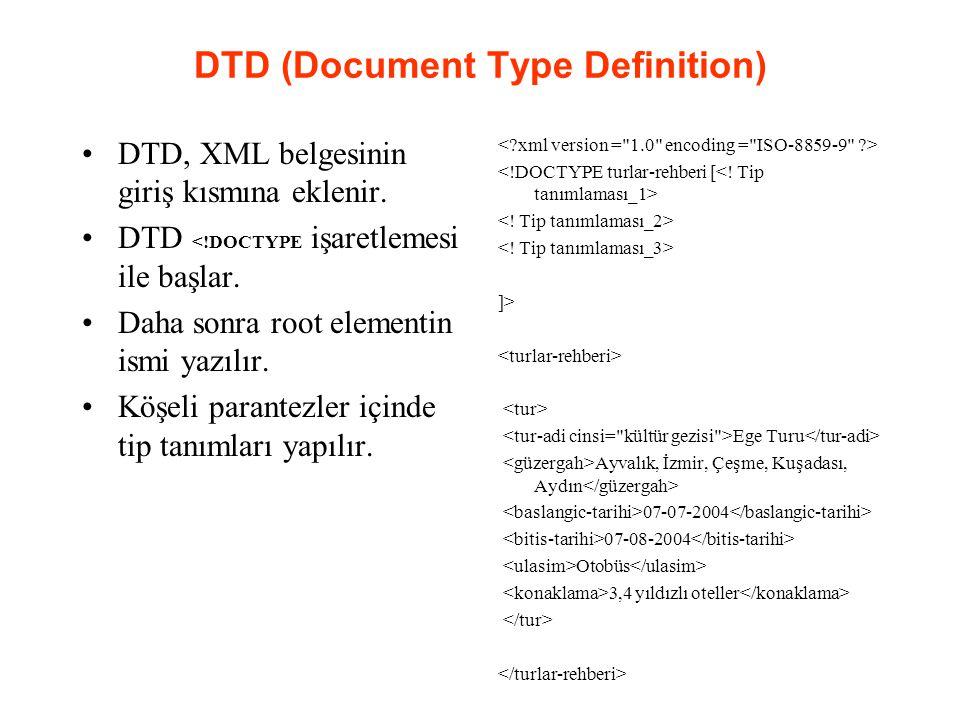 DTD (Document Type Definition) DTD, XML belgesinin giriş kısmına eklenir. DTD <!DOCTYPE işaretlemesi ile başlar. Daha sonra root elementin ismi yazılı