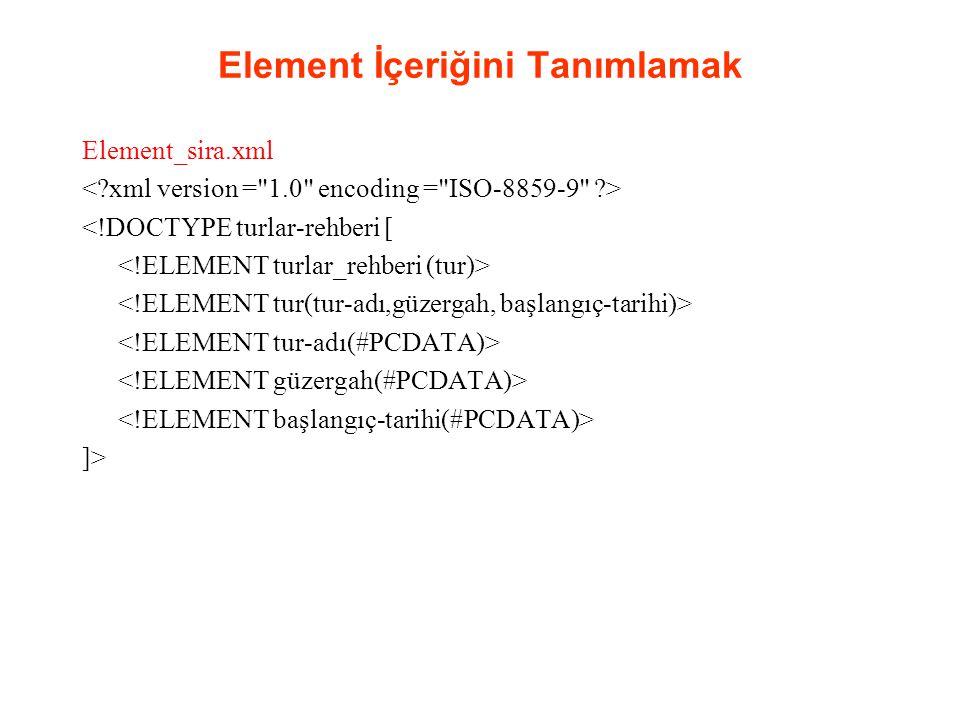 Element İçeriğini Tanımlamak Element_sira.xml <!DOCTYPE turlar-rehberi [ ]>