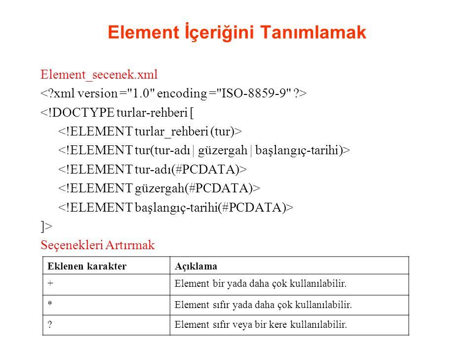 Element İçeriğini Tanımlamak Element_secenek.xml <!DOCTYPE turlar-rehberi [ ]> Seçenekleri Artırmak Eklenen karakterAçıklama +Element bir yada daha ço