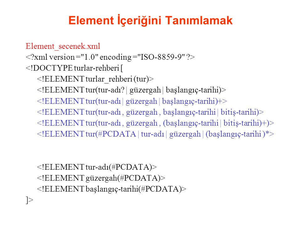 Element İçeriğini Tanımlamak Element_secenek.xml <!DOCTYPE turlar-rehberi [ ]>