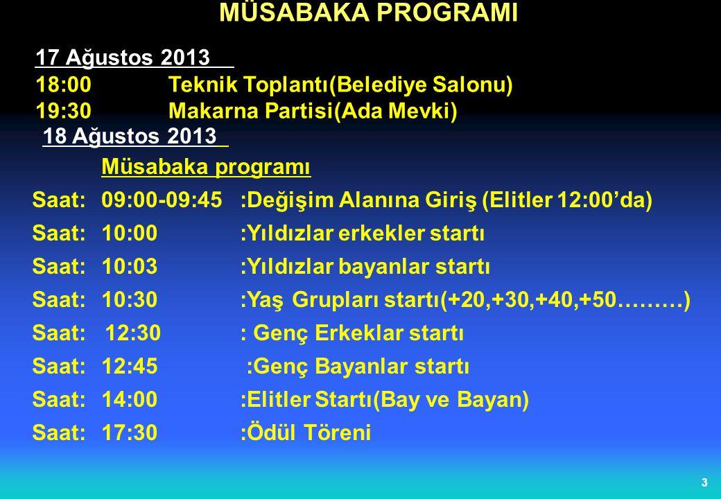 3 MÜSABAKA PROGRAMI 17 Ağustos 2013 18:00Teknik Toplantı(Belediye Salonu) 19:30Makarna Partisi(Ada Mevki) 18 Ağustos 2013 Müsabaka programı Saat:09:00-09:45 :Değişim Alanına Giriş (Elitler 12:00'da) Saat:10:00:Yıldızlar erkekler startı Saat:10:03:Yıldızlar bayanlar startı Saat:10:30:Yaş Grupları startı(+20,+30,+40,+50………) Saat: 12:30: Genç Erkeklar startı Saat:12:45 :Genç Bayanlar startı Saat:14:00:Elitler Startı(Bay ve Bayan) Saat:17:30:Ödül Töreni