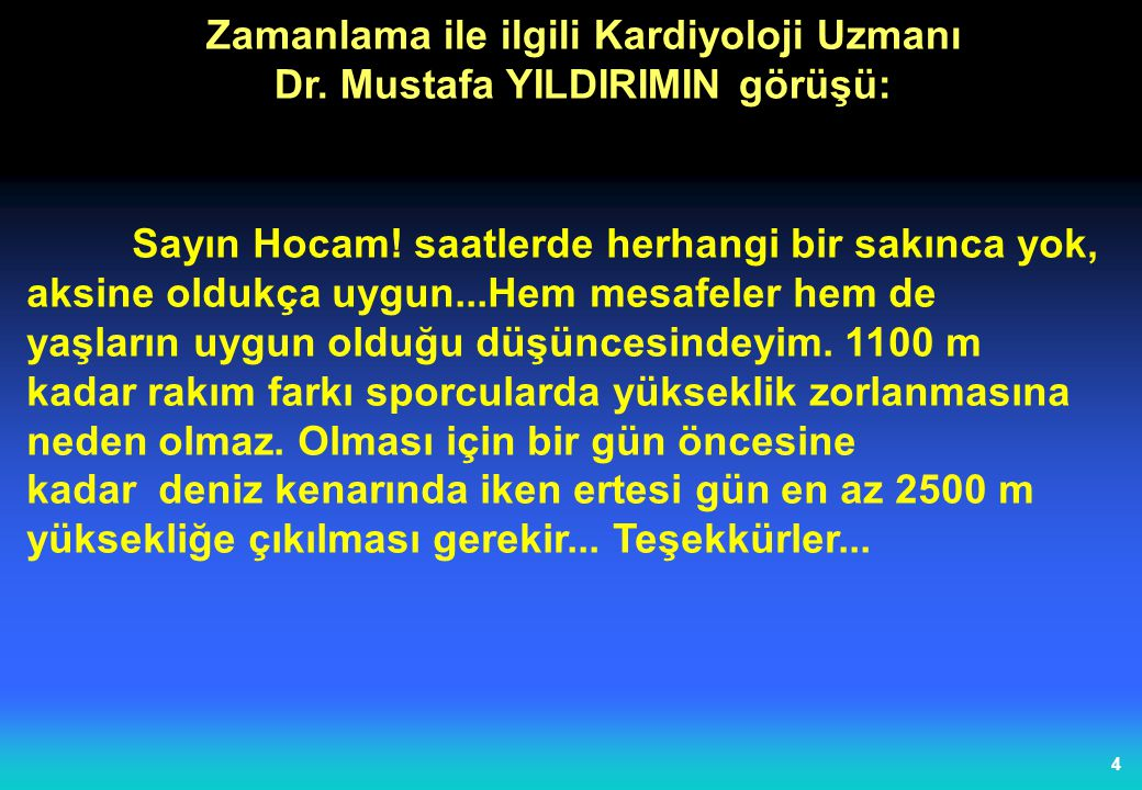 4 Zamanlama ile ilgili Kardiyoloji Uzmanı Dr. Mustafa YILDIRIMIN görüşü: Sayın Hocam! saatlerde herhangi bir sakınca yok, aksine oldukça uygun...Hem m