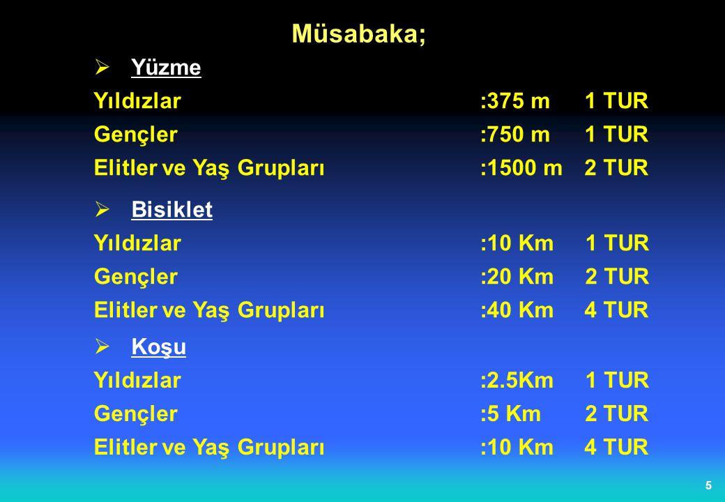 5  Yüzme Yıldızlar:375 m 1 TUR Gençler:750 m 1 TUR Elitler ve Yaş Grupları :1500 m 2 TUR Müsabaka;  Bisiklet Yıldızlar:10 Km 1 TUR Gençler:20 Km 2 TUR Elitler ve Yaş Grupları :40 Km 4 TUR  Koşu Yıldızlar:2.5Km 1 TUR Gençler :5 Km 2 TUR Elitler ve Yaş Grupları :10 Km 4 TUR