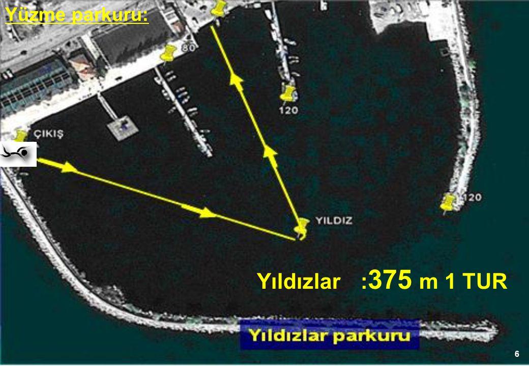 6 Yüzme parkuru: Yıldızlar: 375 m 1 TUR