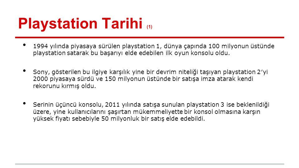 Playstation Tarihi (2) 2004 ün sonunda çıkarılan ve 2011 in üçüncü çeyreği itibariyle yaklaşık 58,9 milyon ünite satan PlayStation Portable, serinin ilk taşınabilir oyun konsolu oldu.