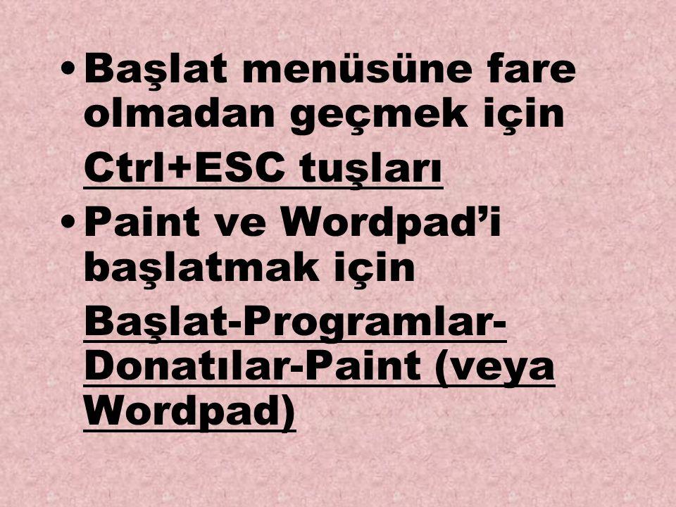 Başlat menüsüne fare olmadan geçmek için Ctrl+ESC tuşları Paint ve Wordpad'i başlatmak için Başlat-Programlar- Donatılar-Paint (veya Wordpad)