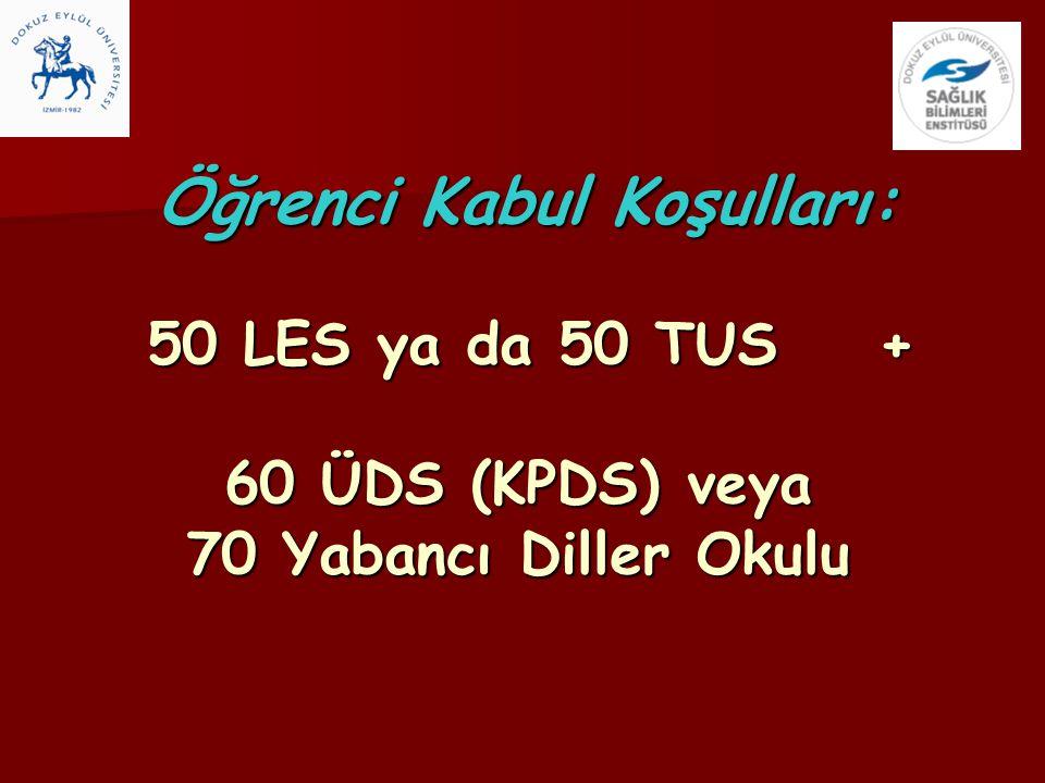 Öğrenci Kabul Koşulları: 50 LES ya da 50 TUS + 60 ÜDS (KPDS) veya 70 Yabancı Diller Okulu Öğrenci Kabul Koşulları: 50 LES ya da 50 TUS + 60 ÜDS (KPDS)