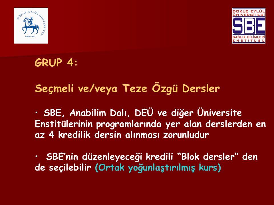 GRUP 4: Seçmeli ve/veya Teze Özgü Dersler SBE, Anabilim Dalı, DEÜ ve diğer Üniversite Enstitülerinin programlarında yer alan derslerden en az 4 kredil
