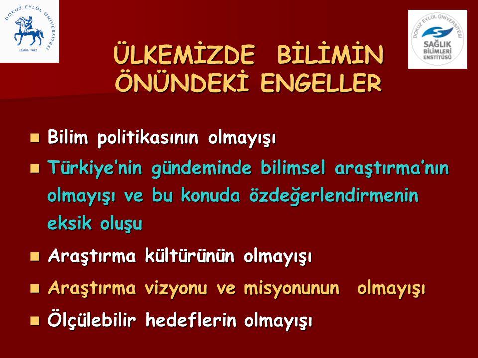 ÜLKEMİZDE BİLİMİN ÖNÜNDEKİ ENGELLER Bilim politikasının olmayışı Bilim politikasının olmayışı Türkiye'nin gündeminde bilimsel araştırma'nın olmayışı v