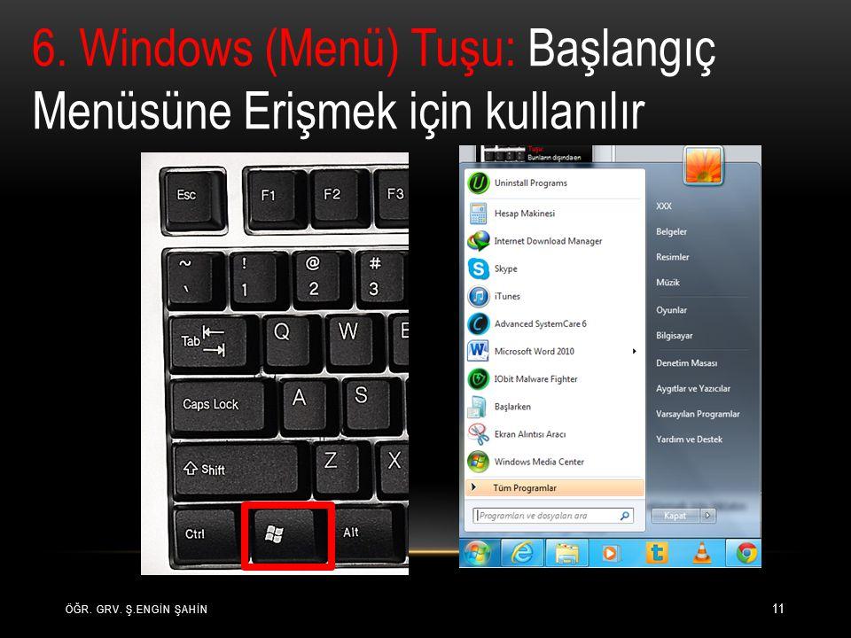ÖĞR. GRV. Ş.ENGİN ŞAHİN 11 6. Windows (Menü) Tuşu: Başlangıç Menüsüne Erişmek için kullanılır
