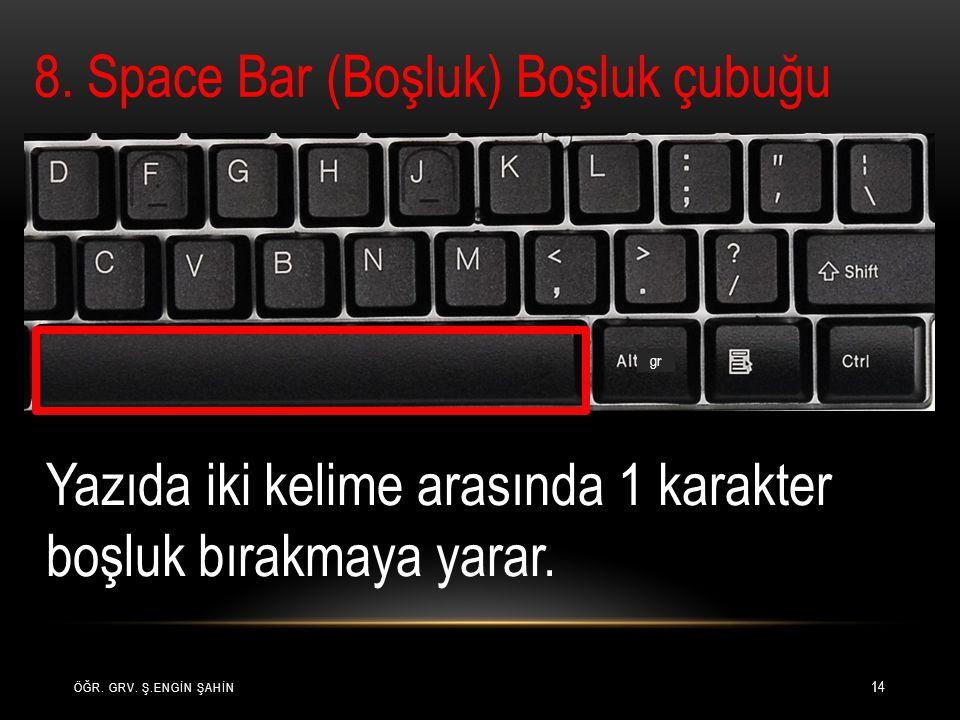 ÖĞR. GRV. Ş.ENGİN ŞAHİN 14 8. Space Bar (Boşluk) Boşluk çubuğu gr Yazıda iki kelime arasında 1 karakter boşluk bırakmaya yarar.