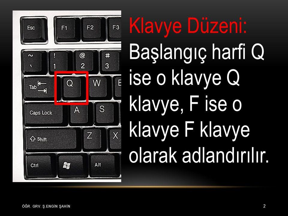 2 Klavye Düzeni: Başlangıç harfi Q ise o klavye Q klavye, F ise o klavye F klavye olarak adlandırılır.