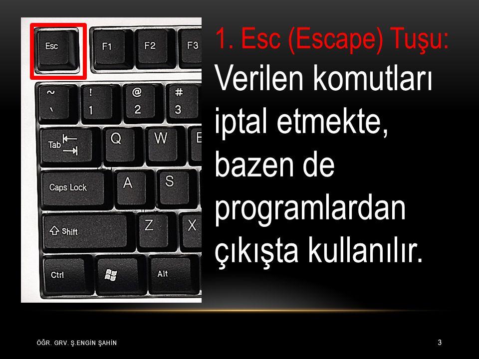 ÖĞR. GRV. Ş.ENGİN ŞAHİN 3 1. Esc (Escape) Tuşu: Verilen komutları iptal etmekte, bazen de programlardan çıkışta kullanılır.