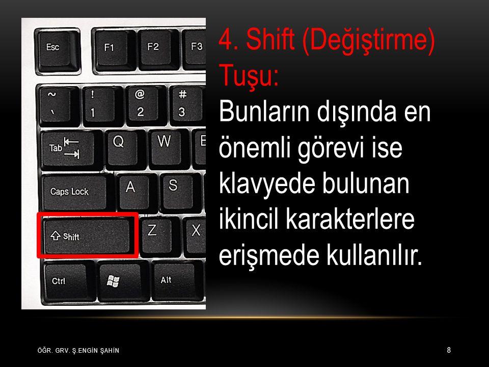 ÖĞR. GRV. Ş.ENGİN ŞAHİN 8 4. Shift (Değiştirme) Tuşu: Bunların dışında en önemli görevi ise klavyede bulunan ikincil karakterlere erişmede kullanılır.