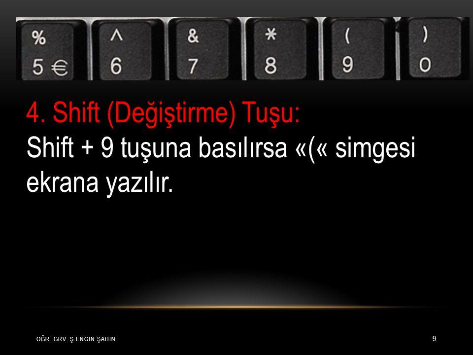 ÖĞR. GRV. Ş.ENGİN ŞAHİN 9 4. Shift (Değiştirme) Tuşu: Shift + 9 tuşuna basılırsa «(« simgesi ekrana yazılır.