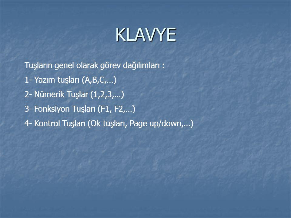 KLAVYE Tuşların dizilişlerine göre klavyeler : QWERTY : Tuş sırasındaki ilk 6 harfin dizilişinden belli olur.