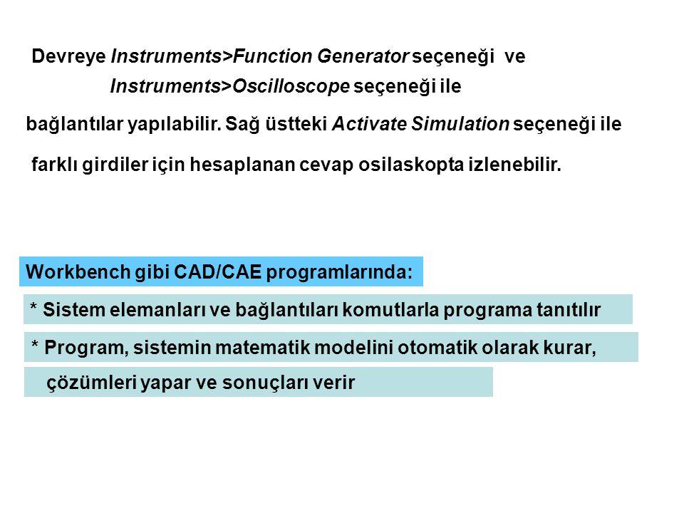 Devreye Instruments>Function Generator seçeneği ve Instruments>Oscilloscope seçeneği ile bağlantılar yapılabilir.