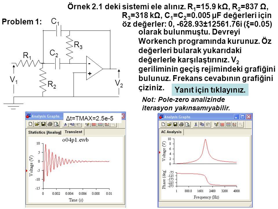 Problem 1: C1C1 - + V1V1 V2V2 R1R1 R2R2 R3R3 C2C2 Örnek 2.1 deki sistemi ele alınız.