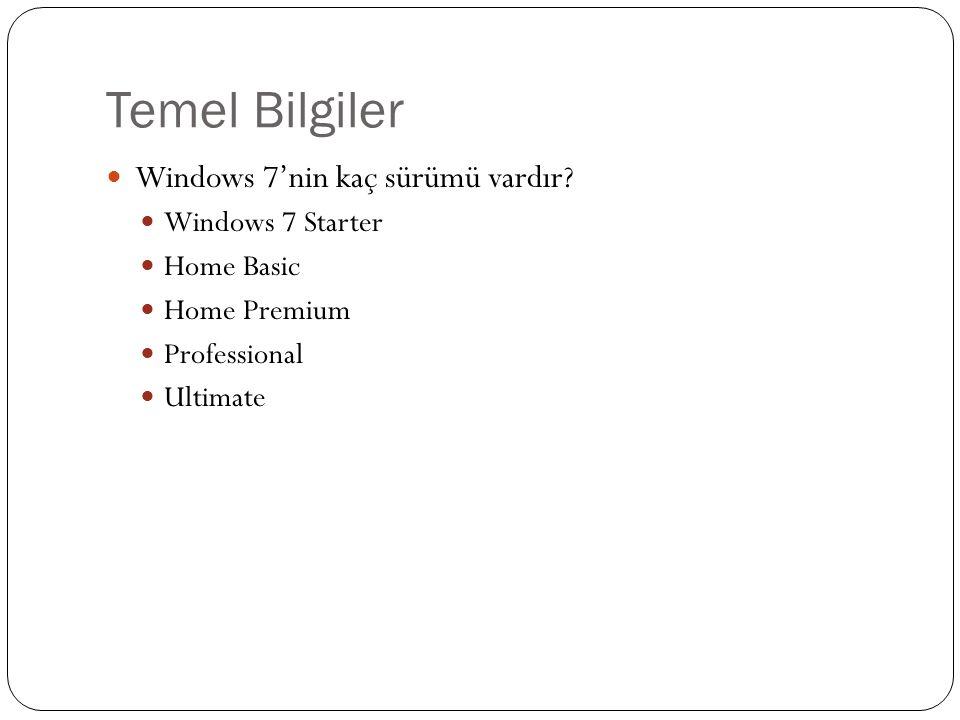 Temel Bilgiler Bazı Terimler ; Windows Masaüstü Simgeler Simgeleri De ğ i ş tirmek için ne yapmalıyız.