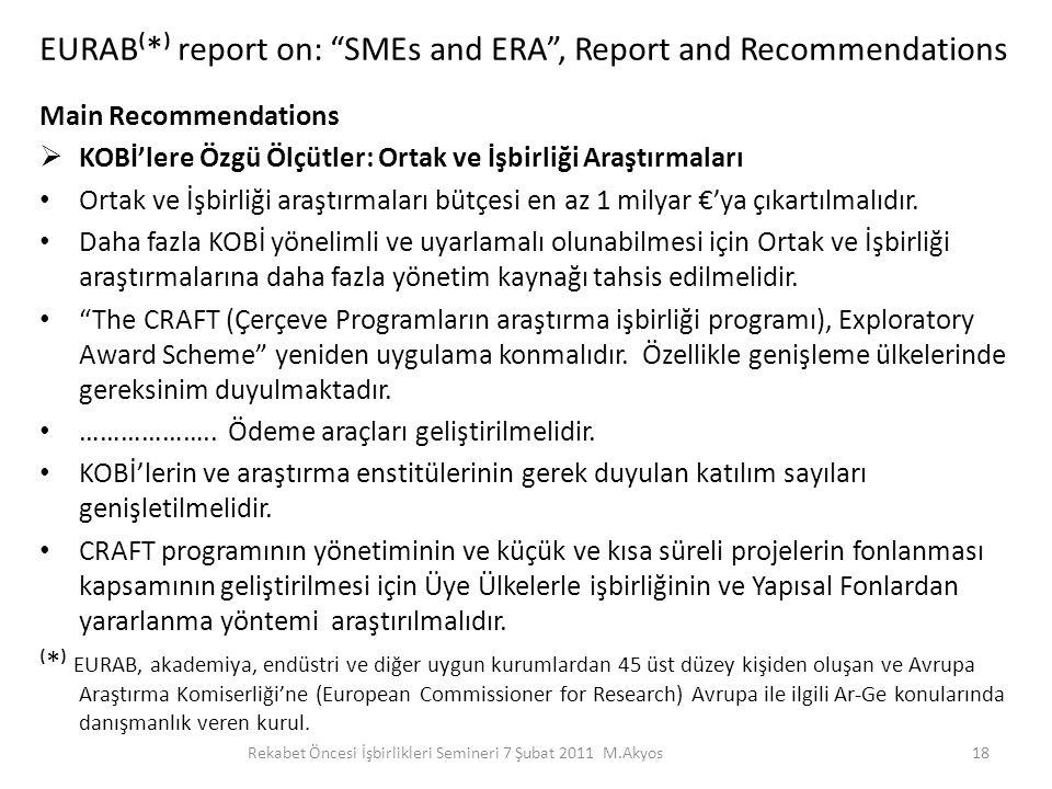 """EURAB⁽*⁾ report on: """"SMEs and ERA"""", Report and Recommendations Main Recommendations  KOBİ'lere Özgü Ölçütler: Ortak ve İşbirliği Araştırmaları Ortak"""