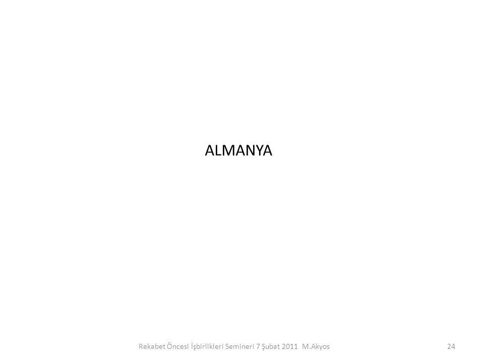 ALMANYA 24Rekabet Öncesi İşbirlikleri Semineri 7 Şubat 2011 M.Akyos