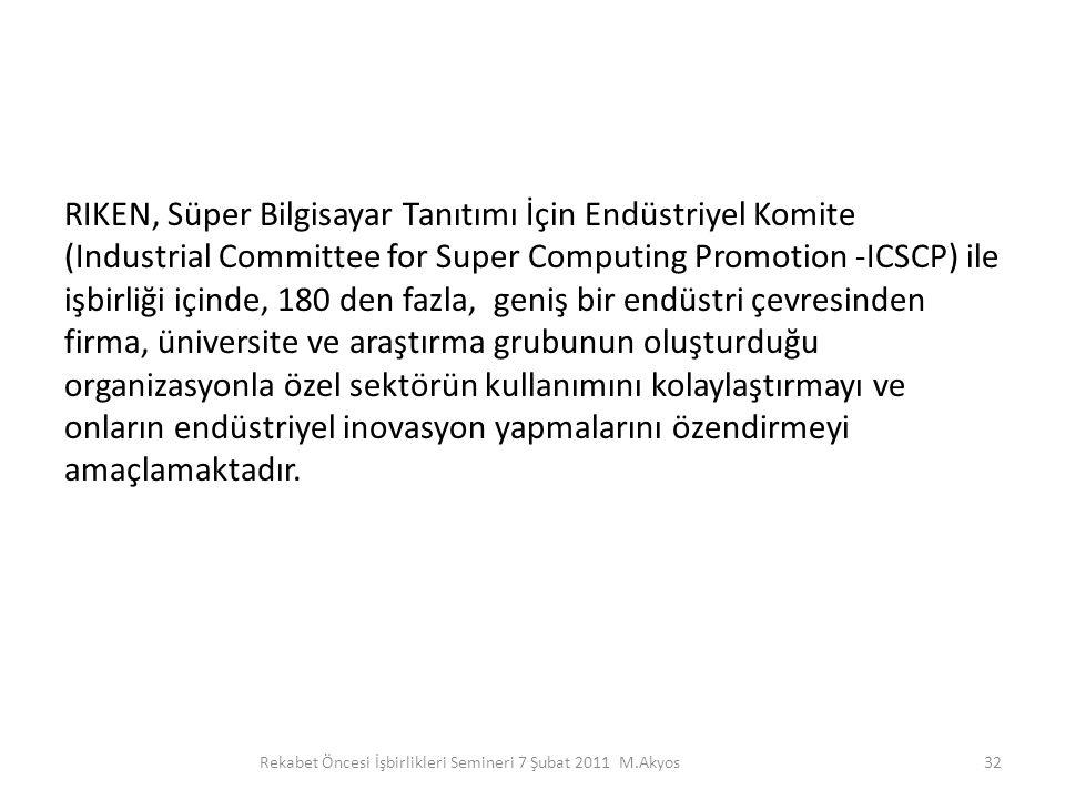 RIKEN, Süper Bilgisayar Tanıtımı İçin Endüstriyel Komite (Industrial Committee for Super Computing Promotion -ICSCP) ile işbirliği içinde, 180 den faz